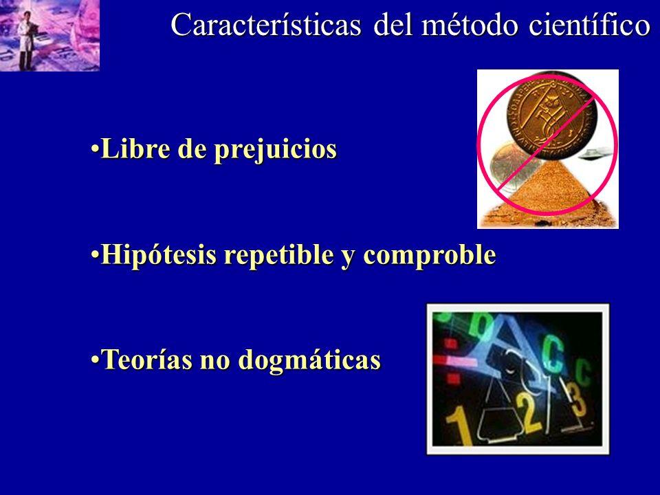 Características del método científico Libre de prejuiciosLibre de prejuicios Hipótesis repetible y comprobleHipótesis repetible y comproble Teorías no
