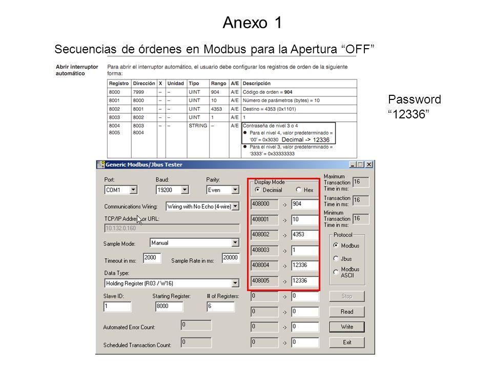 Anexo 1 Secuencias de órdenes en Modbus para la Apertura OFF Password 12336