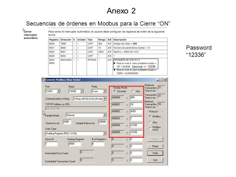 Anexo 3 Secuencias de órdenes en Modbus para el Reset después de disparo Vigi Password 12336