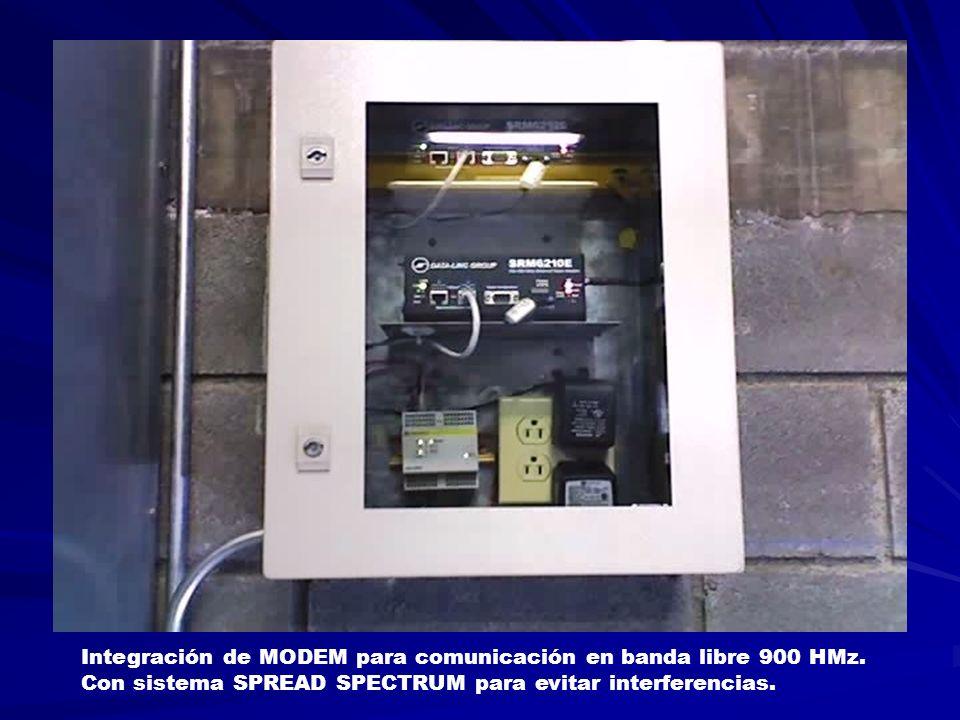 Integración de MODEM para comunicación en banda libre 900 HMz. Con sistema SPREAD SPECTRUM para evitar interferencias.