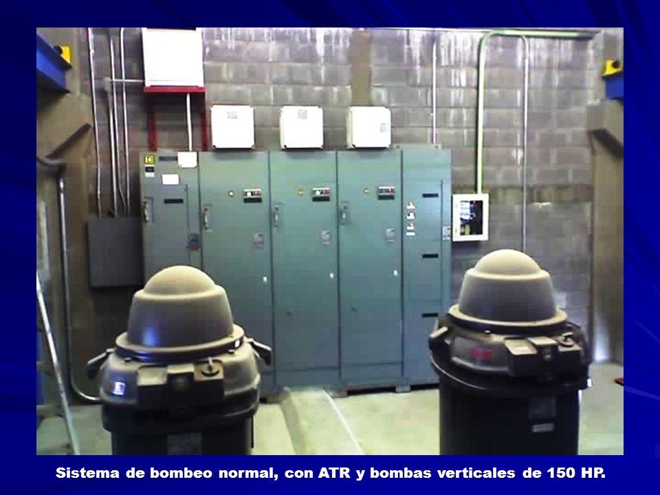 Sistema de bombeo normal, con ATR y bombas verticales de 150 HP.