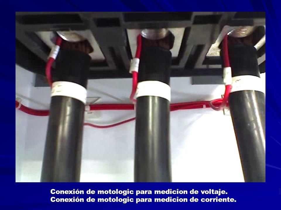 Conexión de motologic para medicion de voltaje. Conexión de motologic para medicion de corriente.