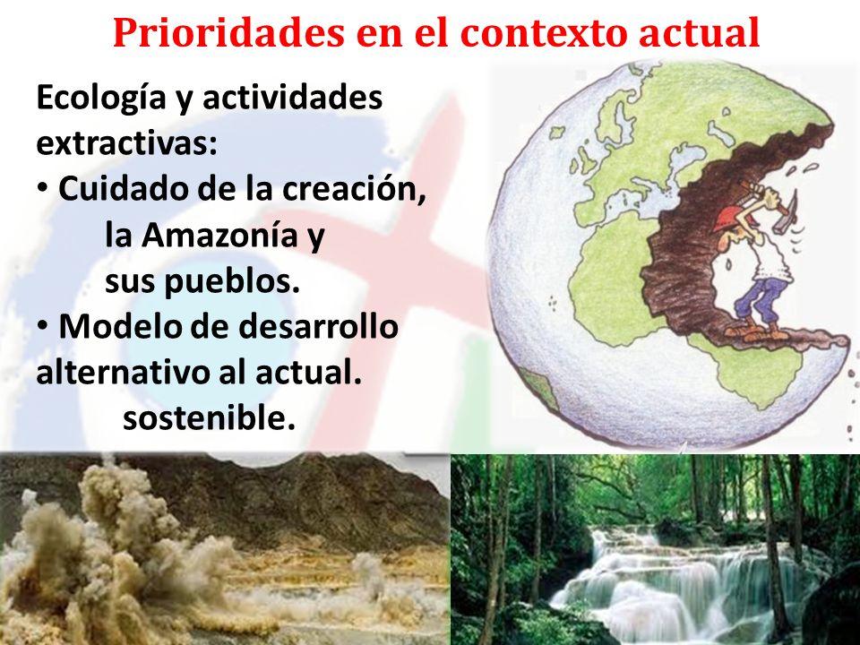 Prioridades en el contexto actual Ecología y actividades extractivas: Cuidado de la creación, la Amazonía y sus pueblos.