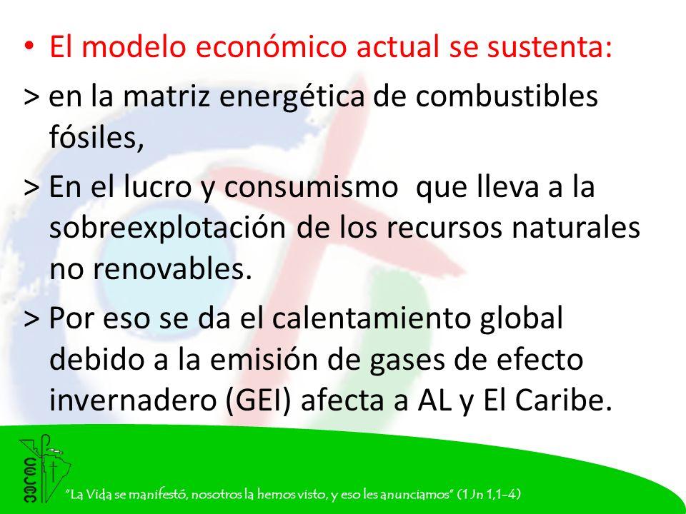 El modelo económico actual se sustenta: > en la matriz energética de combustibles fósiles, > En el lucro y consumismo que lleva a la sobreexplotación de los recursos naturales no renovables.