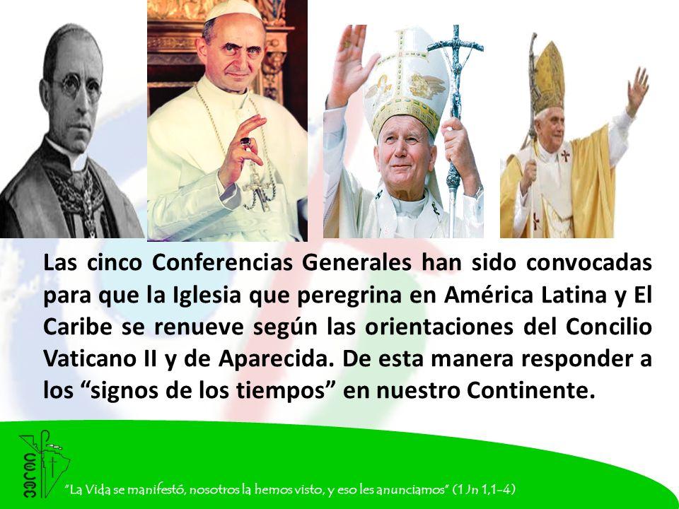 Las cinco Conferencias Generales han sido convocadas para que la Iglesia que peregrina en América Latina y El Caribe se renueve según las orientaciones del Concilio Vaticano II y de Aparecida.