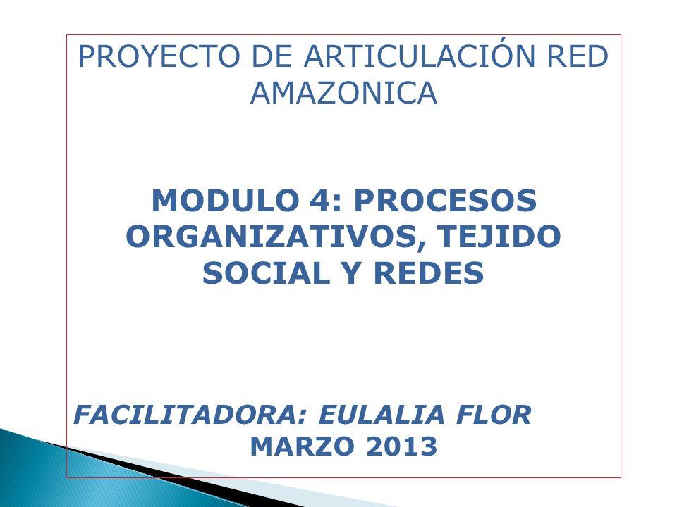 PROYECTO DE ARTICULACIÓN RED AMAZONICA MODULO 4: PROCESOS ORGANIZATIVOS, TEJIDO SOCIAL Y REDES FACILITADORA: EULALIA FLOR MARZO 2013