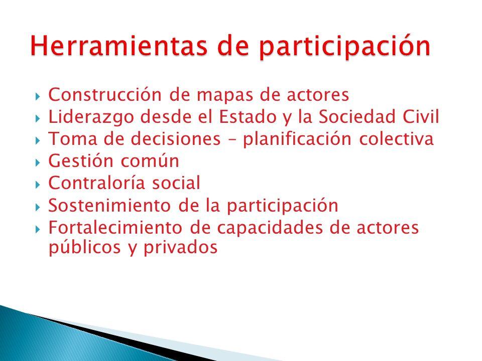 Construcción de mapas de actores Liderazgo desde el Estado y la Sociedad Civil Toma de decisiones – planificación colectiva Gestión común Contraloría