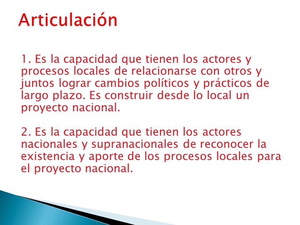 1. Es la capacidad que tienen los actores y procesos locales de relacionarse con otros y juntos lograr cambios políticos y prácticos de largo plazo. E