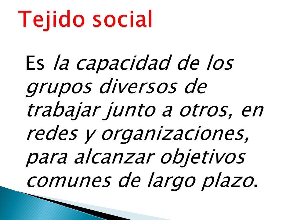 Es la capacidad de los grupos diversos de trabajar junto a otros, en redes y organizaciones, para alcanzar objetivos comunes de largo plazo.