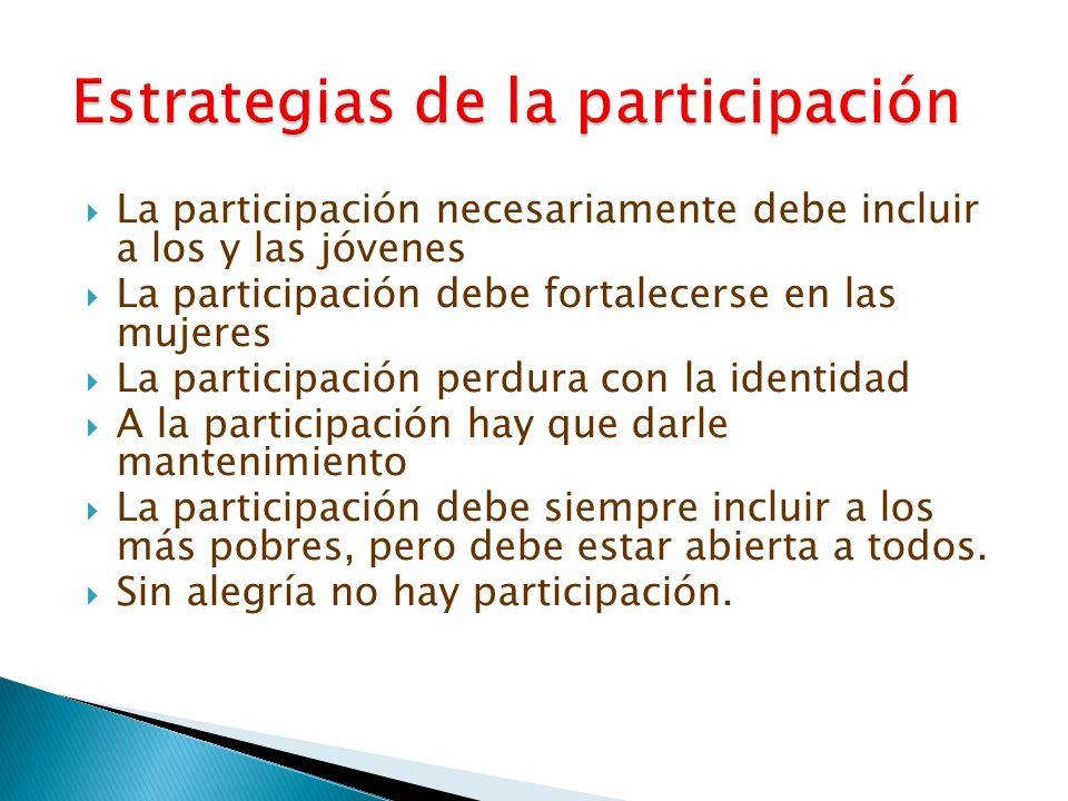 La participación necesariamente debe incluir a los y las jóvenes La participación debe fortalecerse en las mujeres La participación perdura con la ide