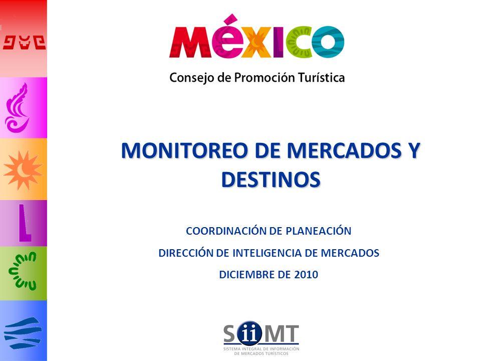 22 LLEGADAS DE TURISMO INTERNACIONAL A MÉXICO Enero-Septiembre 2010 DISTRIBUCIÓN REGIONAL TASA DE CRECIMIENTO 2010/2009 El turismo procedente de Europa es el único que presenta una caída (-7.2%) en el periodo enero-septiembre Fuente: SECTUR / DATATUR 2.