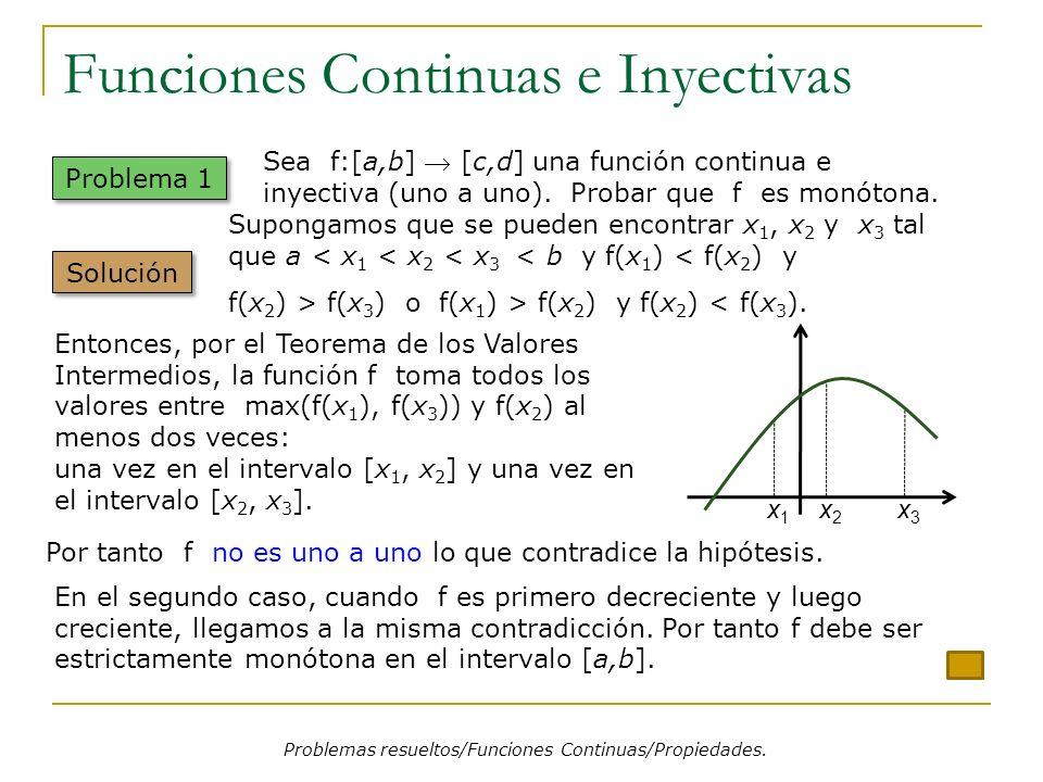 Funciones Continuas e Inyectivas Problemas resueltos/Funciones Continuas/Propiedades. Problema 1 Supongamos que se pueden encontrar x 1, x 2 y x 3 tal