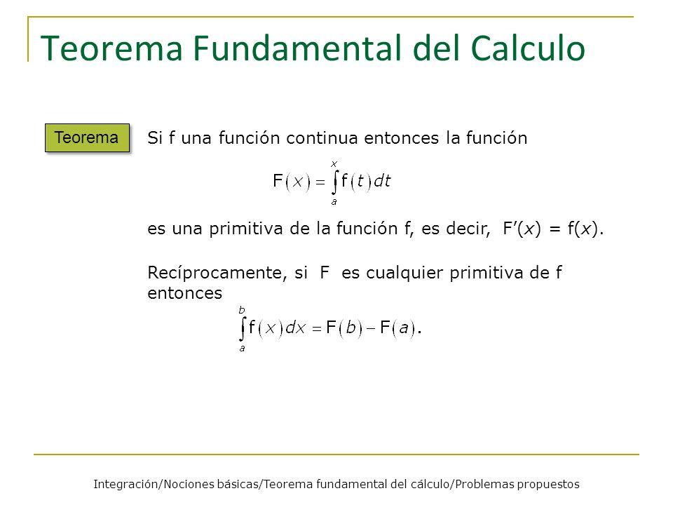 Teorema Fundamental del Calculo Teorema Si f una función continua entonces la función es una primitiva de la función f, es decir, F(x) = f(x). Recípro
