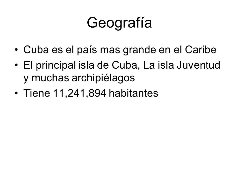 Geografía Cuba es el país mas grande en el Caribe El principal isla de Cuba, La isla Juventud y muchas archipiélagos Tiene 11,241,894 habitantes