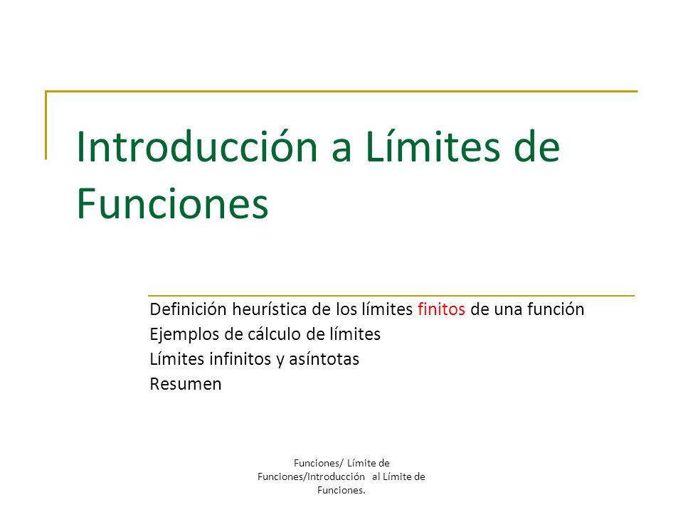 Introducción a Límites de Funciones Definición heurística de los límites finitos de una función Ejemplos de cálculo de límites Límites infinitos y así
