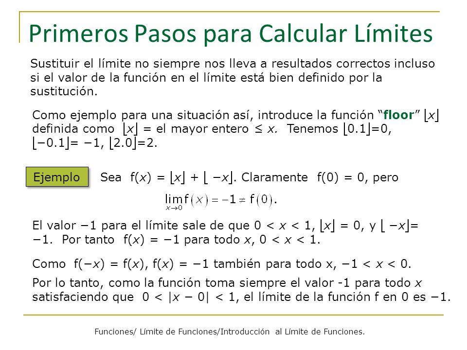 Averiguar Límites con Cálculos en Puntos Cercanos Valor de x 1.12.1 1.0012.001 1.000012.000 Valor de x 0.91.9 0.9991.999 0.9999992.000 En general, podemos encontrar el límite simplemente calculando los valores de la función cerca del punto límite.