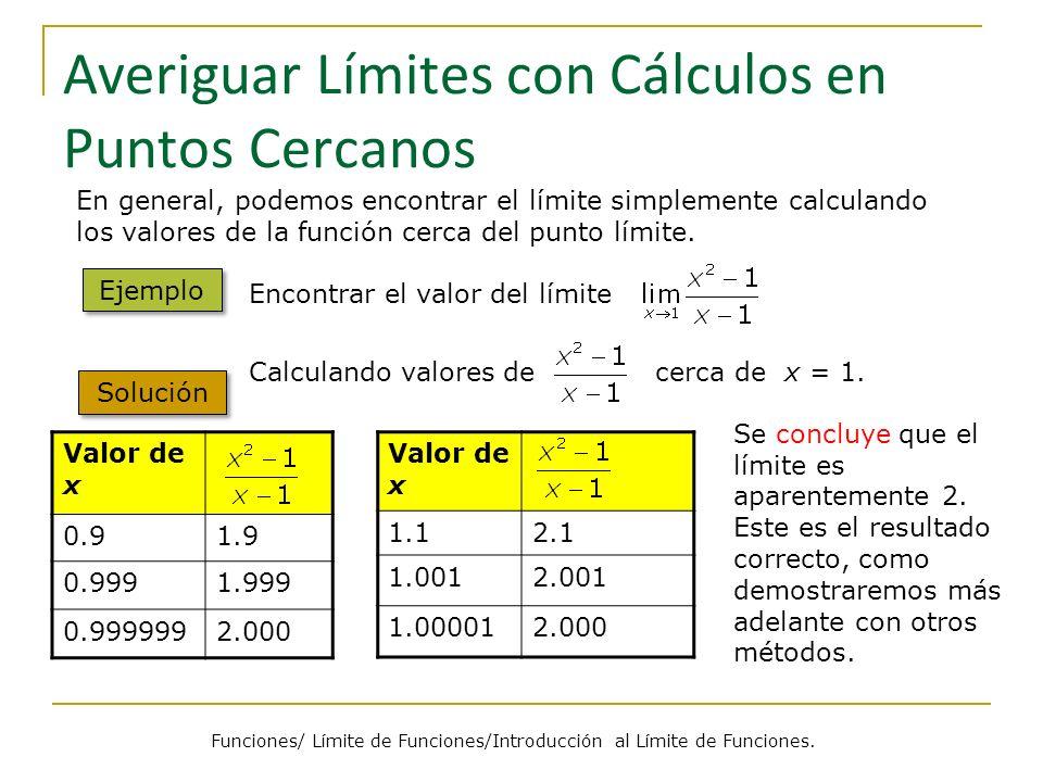 Averiguar Límites con Cálculos en Puntos Cercanos Valor de x 1.12.1 1.0012.001 1.000012.000 Valor de x 0.91.9 0.9991.999 0.9999992.000 En general, pod