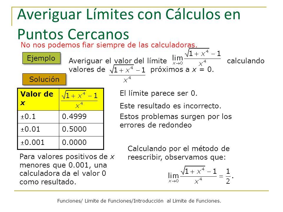 Averiguar Límites con Cálculos en Puntos Cercanos Valor de x 0.1 0.4999 0.01 0.5000 0.001 0.0000 No nos podemos fiar siempre de las calculadoras. Ejem
