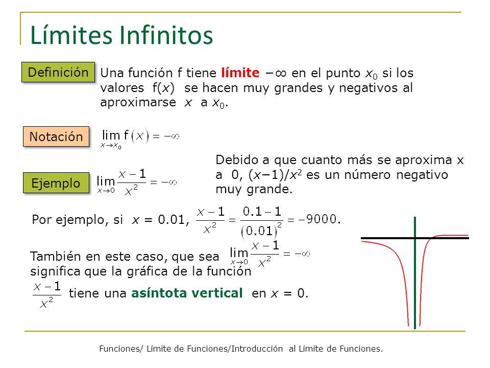 Límites en el Infinito Definición Notación Una función tiene límite L cuando x se aproxima a + o, si los valores de f(x) se aproximan al valor L cuando x se hace suficientemente grande (positiva o negativa).