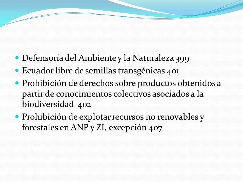 Defensoría del Ambiente y la Naturaleza 399 Ecuador libre de semillas transgénicas 401 Prohibición de derechos sobre productos obtenidos a partir de c