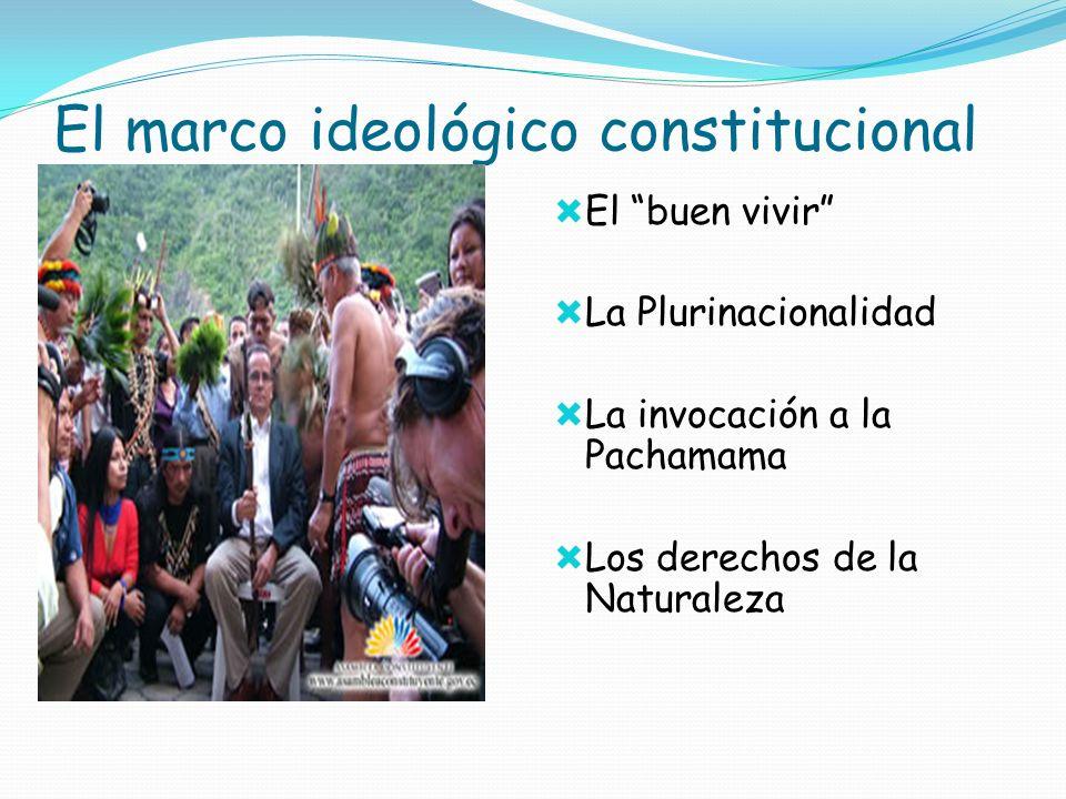 El marco ideológico constitucional El buen vivir La Plurinacionalidad La invocación a la Pachamama Los derechos de la Naturaleza