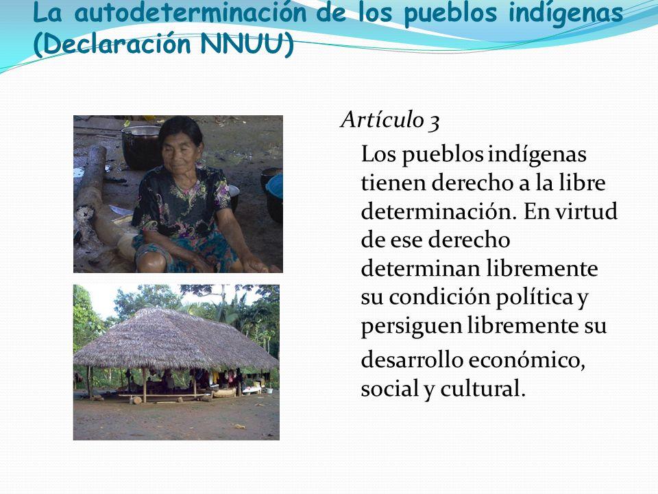 La autodeterminación de los pueblos indígenas (Declaración NNUU) Artículo 3 Los pueblos indígenas tienen derecho a la libre determinación. En virtud d