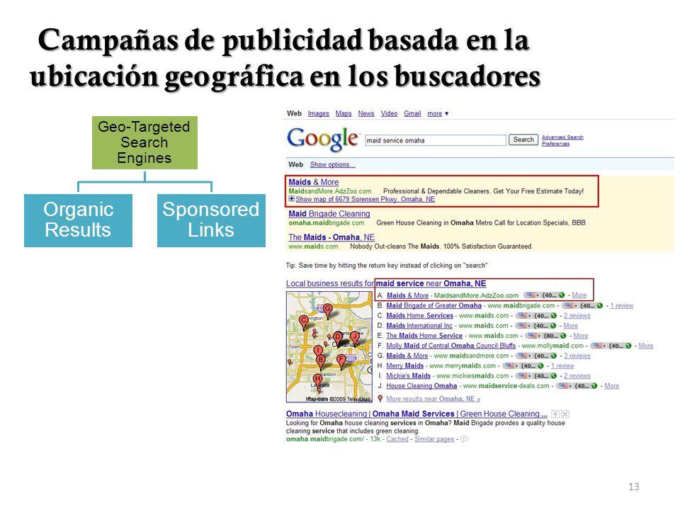 13 Geo-Targeted Search Engines Sponsored Links Organic Results Campañas de publicidad basada en la ubicación geográfica en los buscadores Campañas de