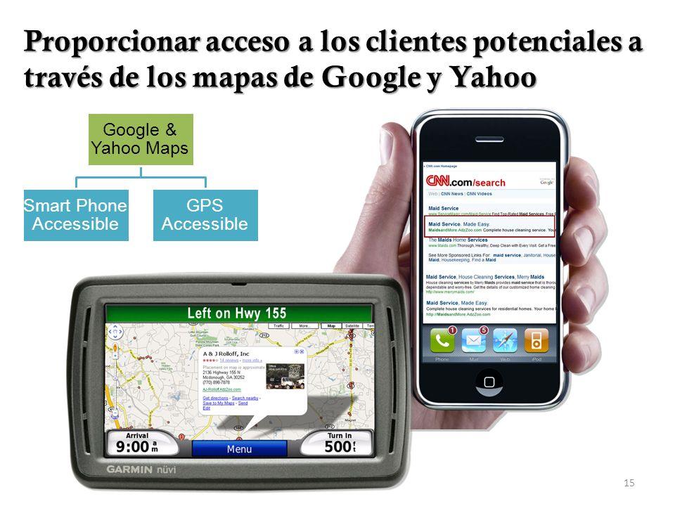 15 Google & Yahoo Maps GPS Accessible Smart Phone Accessible Proporcionar acceso a los clientes potenciales a través de los mapas de Google y Yahoo