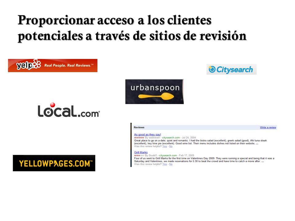 Proporcionar acceso a los clientes potenciales a través de sitios de revisión