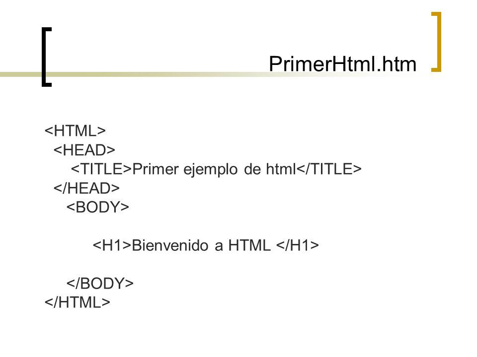 PrimerHtml.htm Primer ejemplo de html Bienvenido a HTML