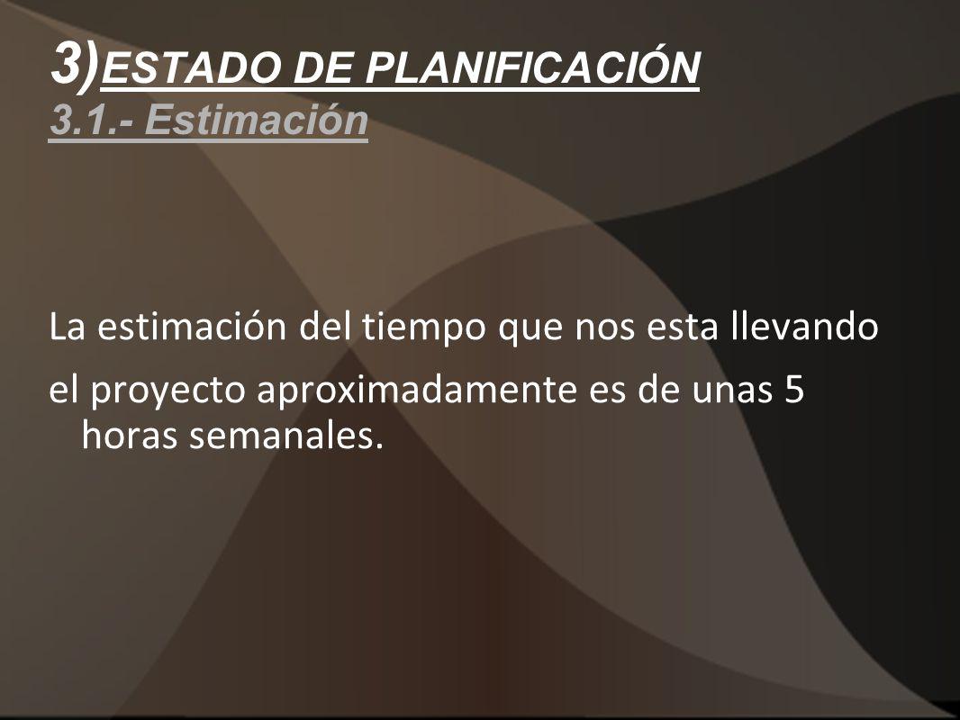 3) ESTADO DE PLANIFICACIÓN 3.1.- Estimación La estimación del tiempo que nos esta llevando el proyecto aproximadamente es de unas 5 horas semanales.