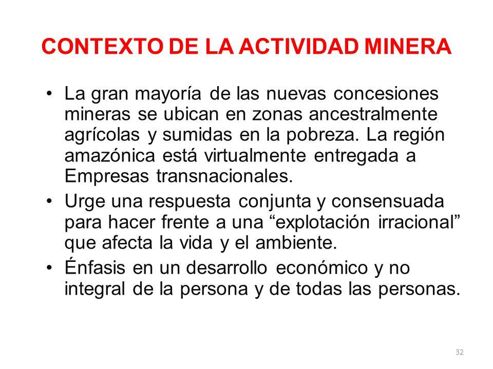 CONTEXTO SOCIAL Y ECONÓMICO La explotación minera y de hidrocarburos se ha expandido en la Región de manera sostenida en los últimos veinticinco años