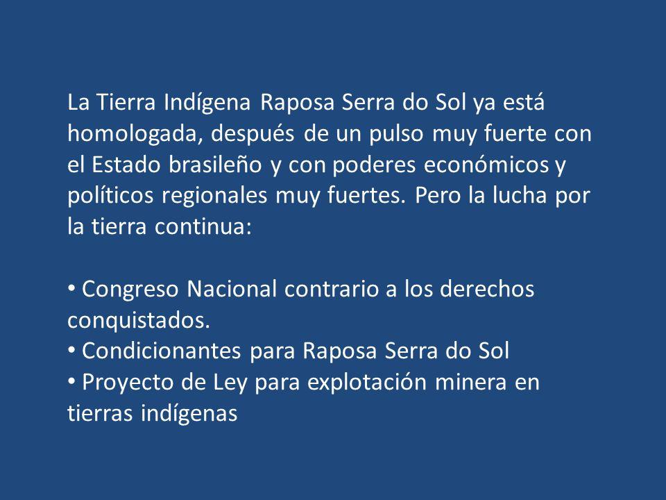 La Tierra Indígena Raposa Serra do Sol ya está homologada, después de un pulso muy fuerte con el Estado brasileño y con poderes económicos y políticos regionales muy fuertes.