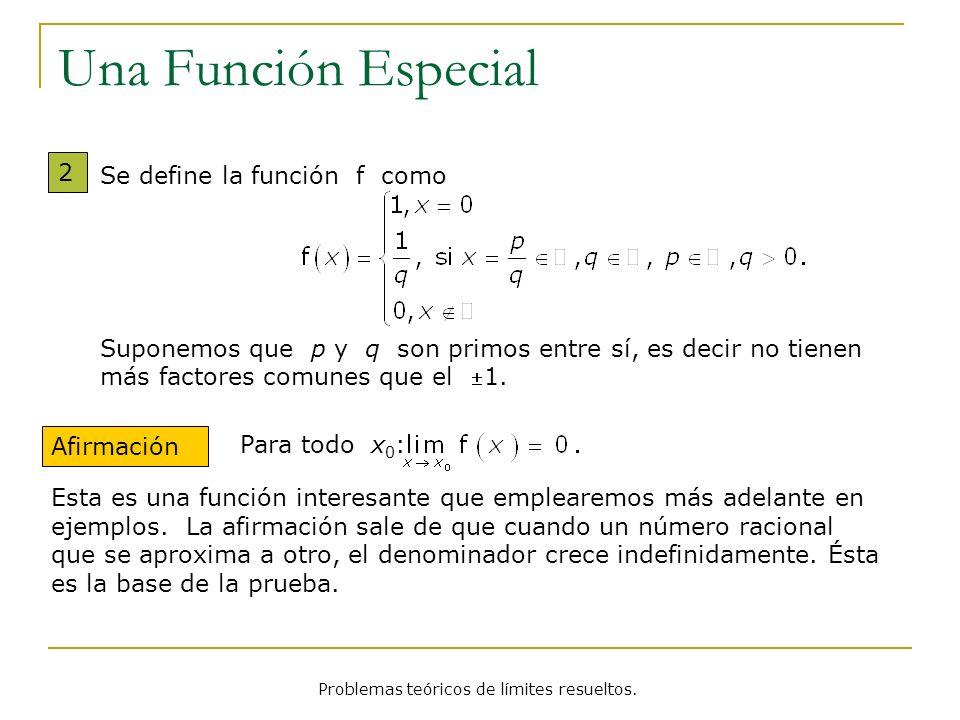 Problemas teóricos de límites resueltos. Una Función Especial 2 Afirmación Se define la función f como Suponemos que p y q son primos entre sí, es dec