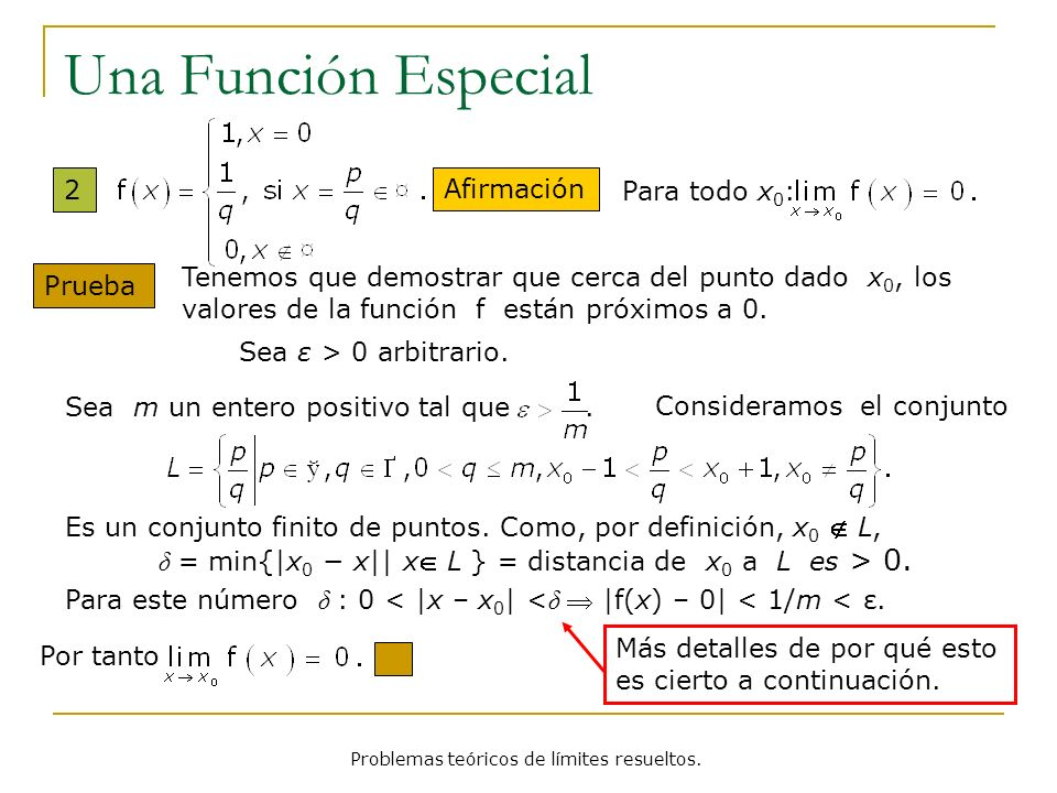 Problemas teóricos de límites resueltos. Una Función Especial 2 Afirmación Para todo x 0 : Prueba Sea ε > 0 arbitrario. Tenemos que demostrar que cerc