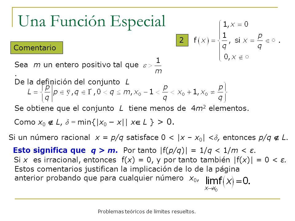 Problemas teóricos de límites resueltos. Una Función Especial 2 Como x 0 L, δ = min{ x 0 x   x L } > 0. Si un número racional x = p/q satisface 0 <  x