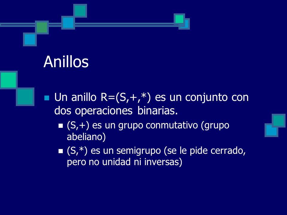 Anillos Un anillo R=(S,+,*) es un conjunto con dos operaciones binarias. (S,+) es un grupo conmutativo (grupo abeliano) (S,*) es un semigrupo (se le p