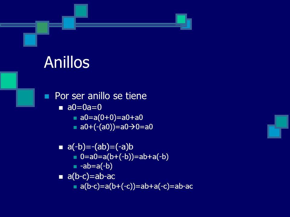 Anillos Por ser anillo se tiene a0=0a=0 a0=a(0+0)=a0+a0 a0+(-(a0))=a0 0=a0 a(-b)=-(ab)=(-a)b 0=a0=a(b+(-b))=ab+a(-b) -ab=a(-b) a(b-c)=ab-ac a(b-c)=a(b
