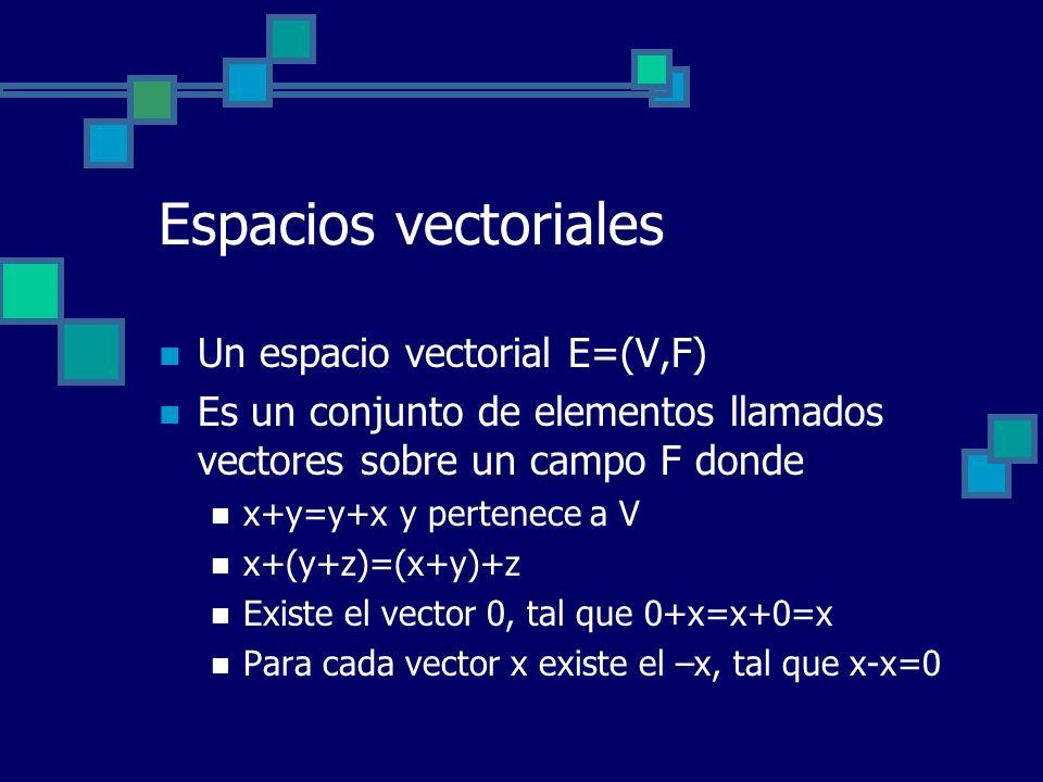 Espacios vectoriales Un espacio vectorial E=(V,F) Es un conjunto de elementos llamados vectores sobre un campo F donde x+y=y+x y pertenece a V x+(y+z)