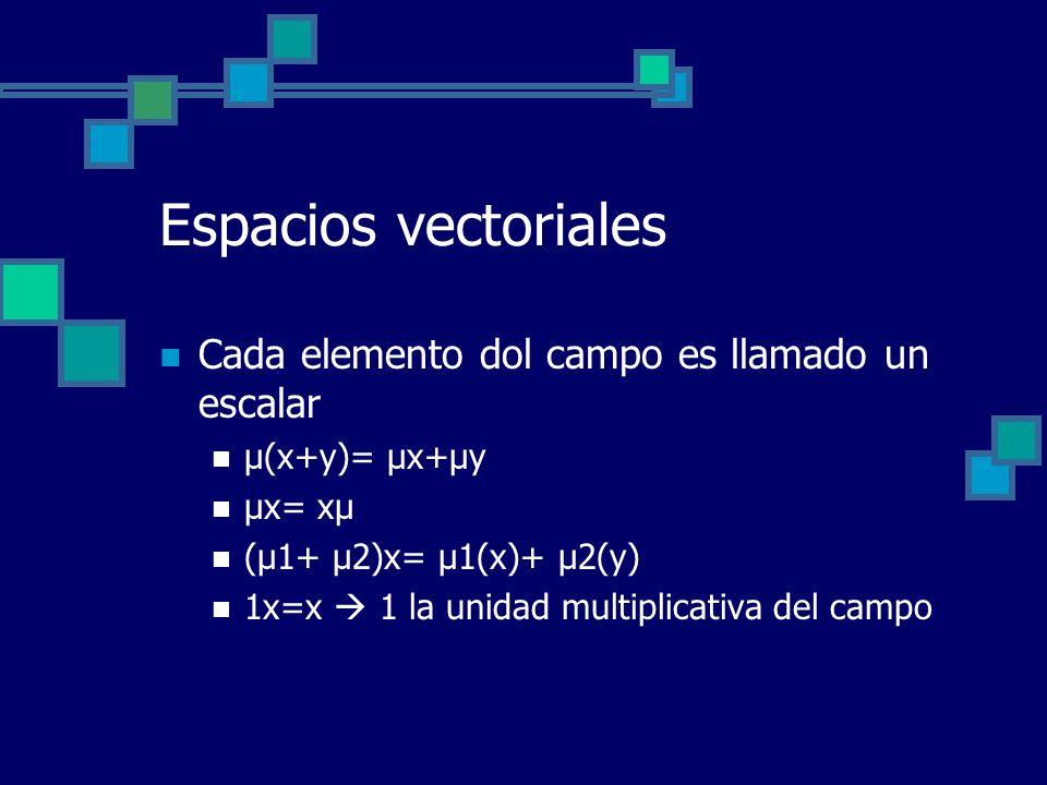 Espacios vectoriales Cada elemento dol campo es llamado un escalar µ(x+y)= µx+µy µx= xµ (µ1+ µ2)x= µ1(x)+ µ2(y) 1x=x 1 la unidad multiplicativa del ca