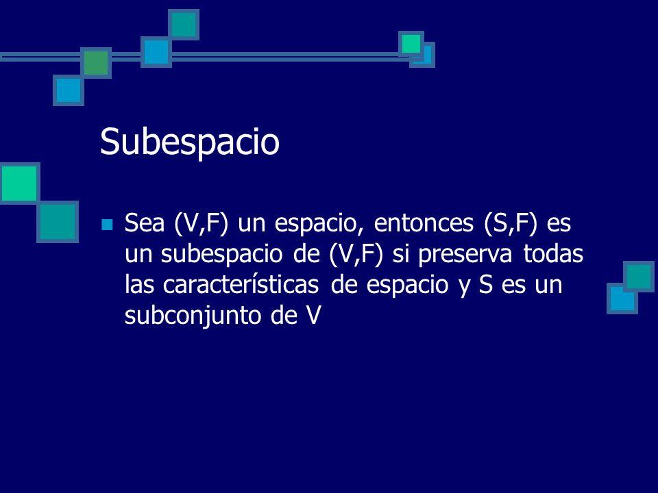 Subespacio Sea (V,F) un espacio, entonces (S,F) es un subespacio de (V,F) si preserva todas las características de espacio y S es un subconjunto de V