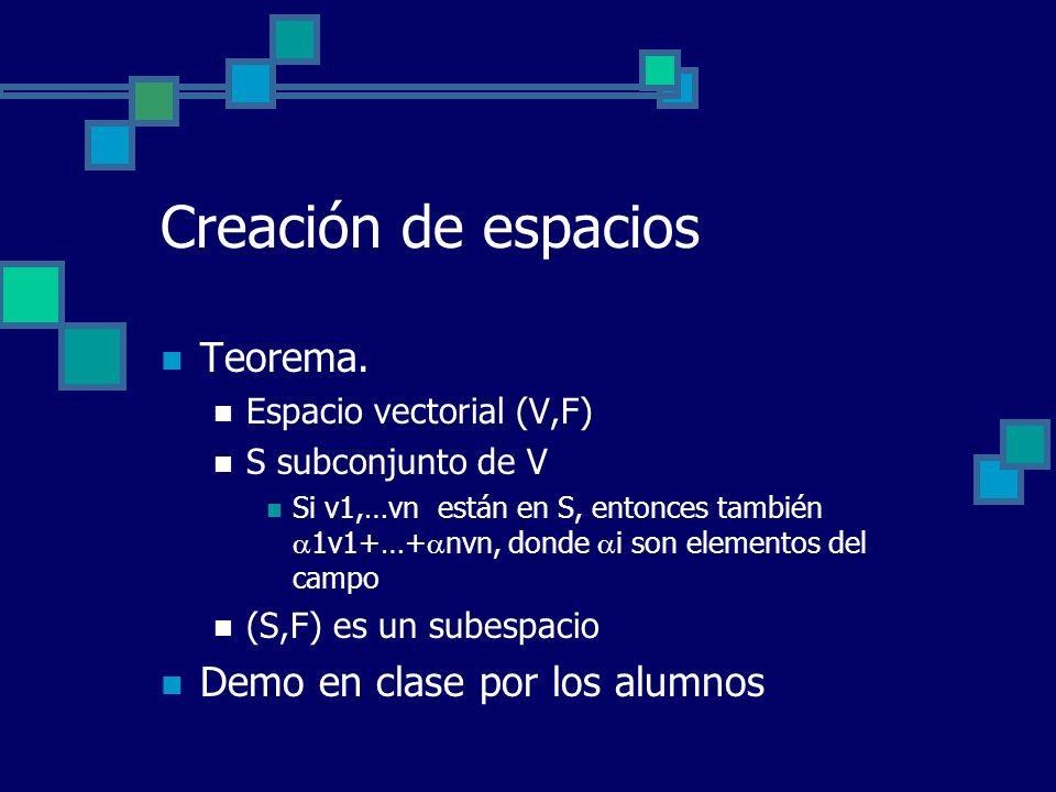 Creación de espacios Teorema. Espacio vectorial (V,F) S subconjunto de V Si v1,…vn están en S, entonces también 1v1+…+ nvn, donde i son elementos del