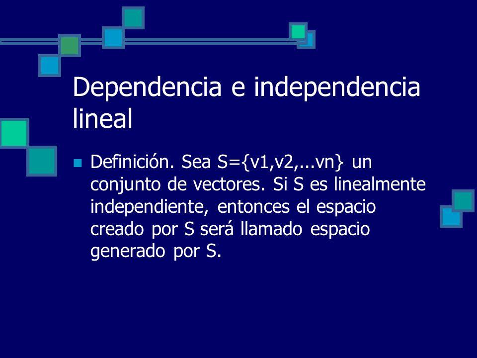 Dependencia e independencia lineal Definición. Sea S={v1,v2,...vn} un conjunto de vectores. Si S es linealmente independiente, entonces el espacio cre