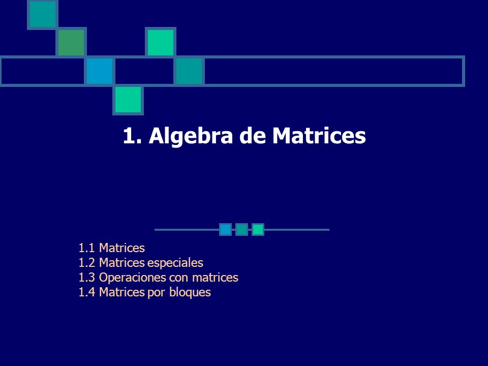 1. Algebra de Matrices 1.1 Matrices 1.2 Matrices especiales 1.3 Operaciones con matrices 1.4 Matrices por bloques