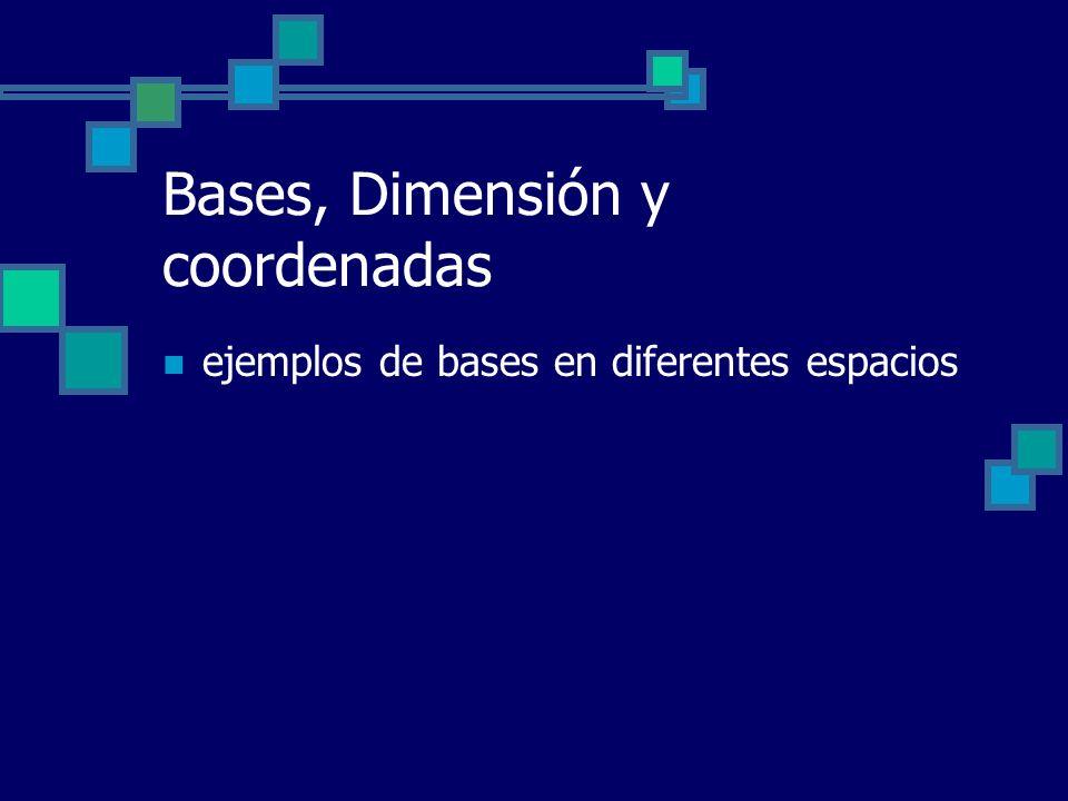 Bases, Dimensión y coordenadas ejemplos de bases en diferentes espacios