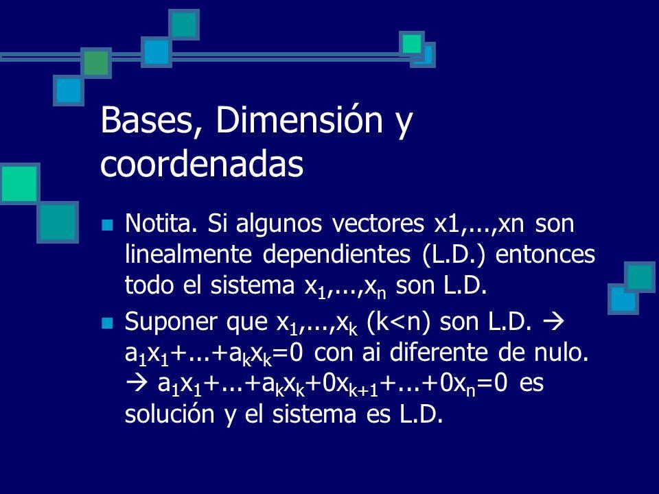 Bases, Dimensión y coordenadas Notita. Si algunos vectores x1,...,xn son linealmente dependientes (L.D.) entonces todo el sistema x 1,...,x n son L.D.