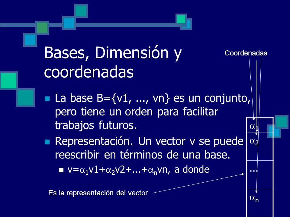 Bases, Dimensión y coordenadas La base B={v1,..., vn} es un conjunto, pero tiene un orden para facilitar trabajos futuros. Representación. Un vector v