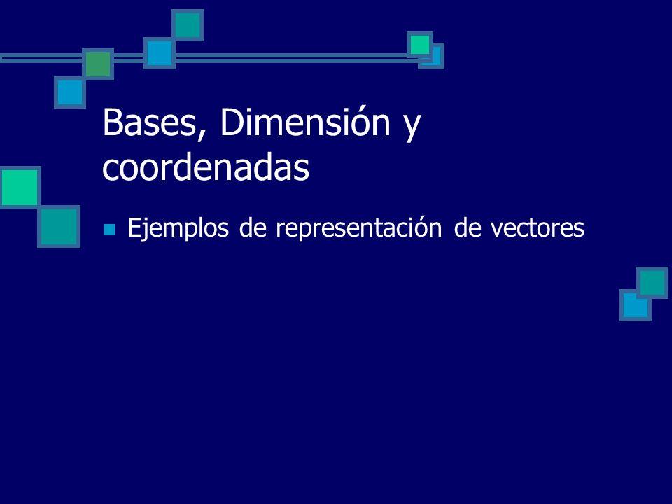 Bases, Dimensión y coordenadas Ejemplos de representación de vectores