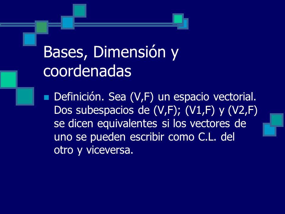 Bases, Dimensión y coordenadas Definición. Sea (V,F) un espacio vectorial. Dos subespacios de (V,F); (V1,F) y (V2,F) se dicen equivalentes si los vect