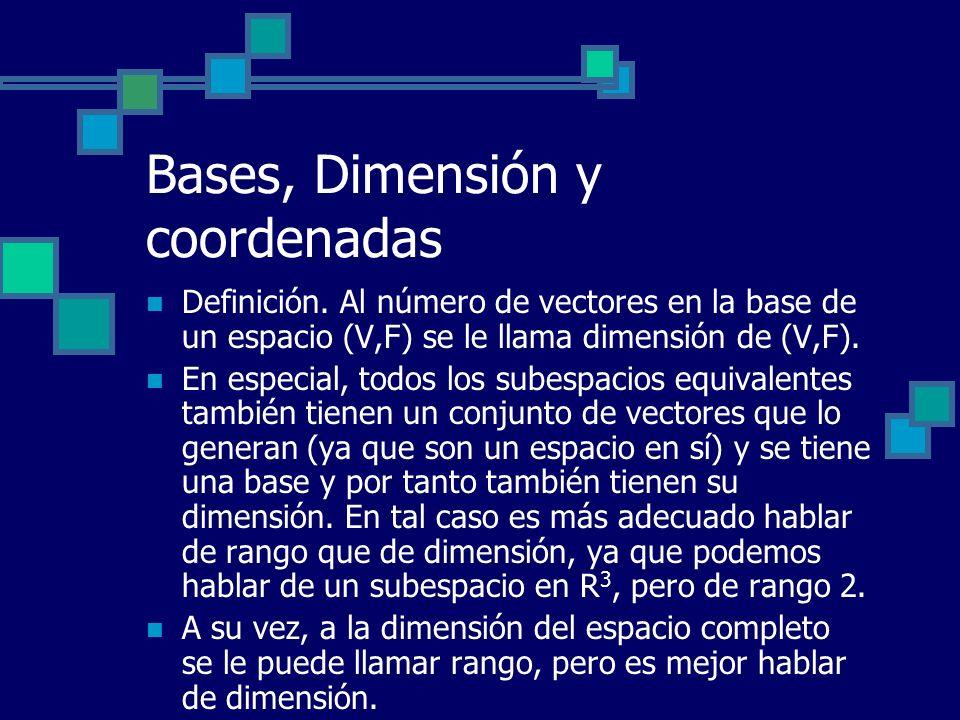 Bases, Dimensión y coordenadas Definición. Al número de vectores en la base de un espacio (V,F) se le llama dimensión de (V,F). En especial, todos los